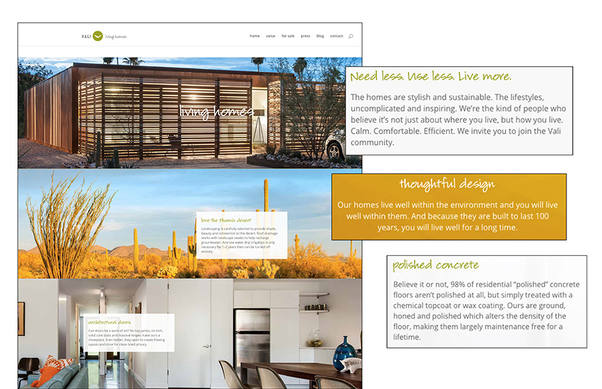 Vali Homes Website